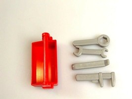 playmobil red tool box tool set wrench crow bar pipe wrench dollhouse wo... - $11.82
