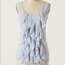 Anthropologie Deletta Graces Lavender Periwinkle Ruffle Front Cotton Tan... - $9.50