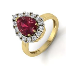 Solid 10k Yellow Gold Ring Pear Design Pear Cut Red Garnet White Diamond... - $379.99