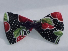 Cherry White Polka Dot Hair Bow-Rockabilly/PinUp/Retro - $5.50