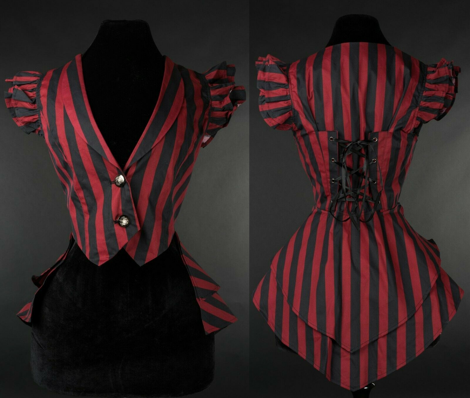 Primary image for Red Black Striped Victorian Gothic Corset Back Vest Steampunk Frilled Waistcoat