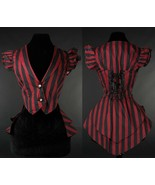 Red Black Striped Victorian Gothic Corset Back Vest Steampunk Frilled Wa... - $64.99