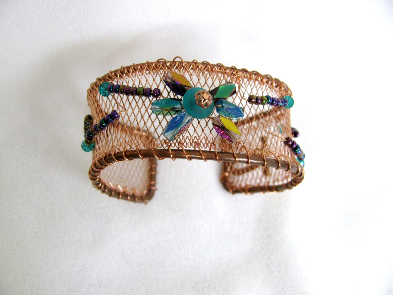Copper Bracelet Cuff with Irridescent Turquoise and Purple G