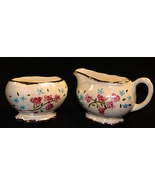 Vintage Pearlescent  Pink Blue Floral Gold Trim Cream and Sugar Dishes SF55 - $12.50