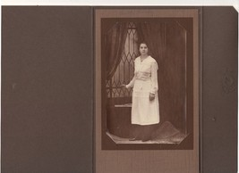 1890-1900 Matted Sepia Photo of Young Woman in ... - $9.28