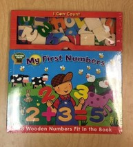 New Learning Wood MY FIRST NUMBERS 38 WoodenAlphabet Numbers fit in book... - $29.69