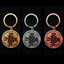 Gold Plated Bitcoin Coin Key Chain BTC Coin Art Collection Design Key Ring Gift image 2