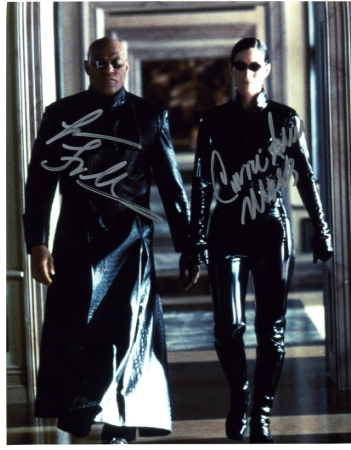 The Matrix cast signed photo Fishburne & Moss
