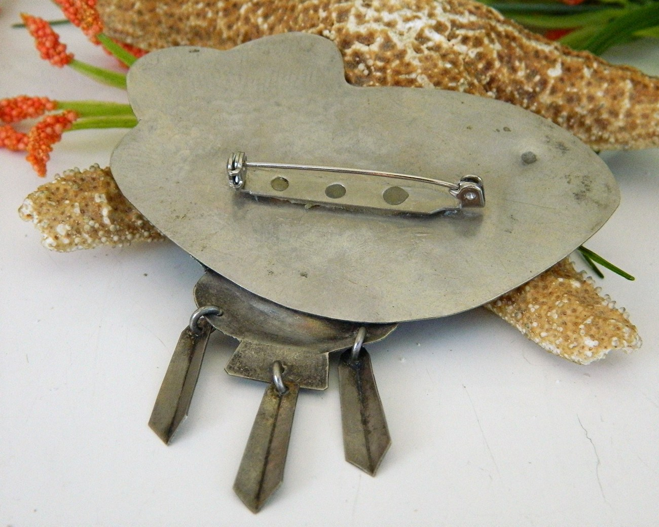 Vintage Fish Brooch Pin Black Cabochon Large Mexico Silver