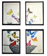 Art N Words Butterfly Freedom Net Original Dictionary 4 Pc Wall Pop Art ... - $119.99