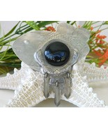 Vintage Fish Brooch Pin Black Cabochon Large Mexico Silver - £13.72 GBP