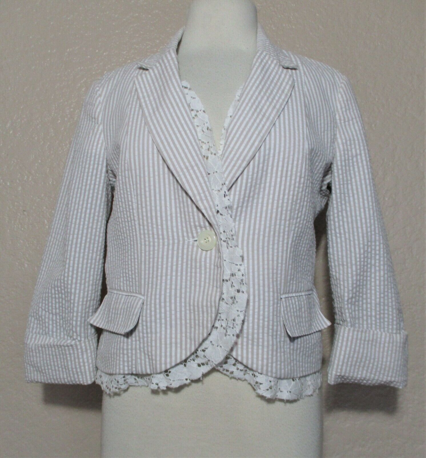 Primary image for Tabitha Anthropologie Jacket Size 10 Women tan white striped seersucker