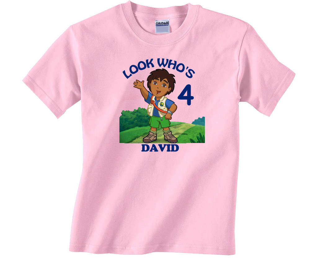 Personalized Custom Go Diego Go Birthday Light Pink T-Shirt Gift Add Your Name