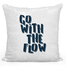 Sequin Pillow Flip Mermaid Pillows Go with The Flow Quote Silver Toss Pillows - $34.25