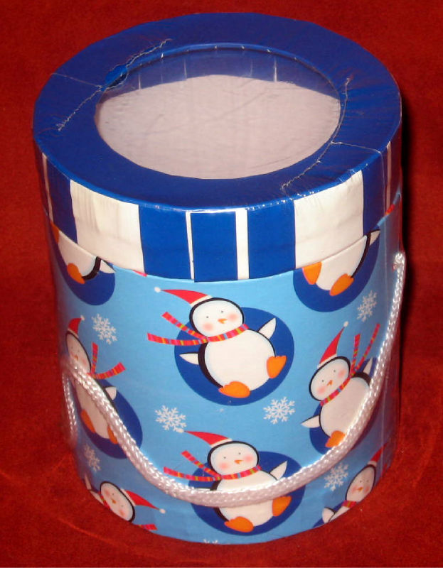 Primary image for Penguins Cardboard Cylinder Container Gift Box Handle
