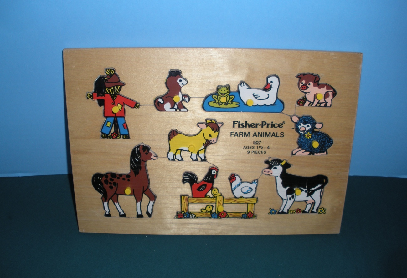 Vtg. Fisher Pick-Up and Peek #507 Farm Animals Wooden Puzzle EXC++-NR MT w/BOX!