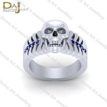 0.15ct Blue Diamond Gothic Skull Wedding Band Bones Skull Engagement Rin... - £157.19 GBP+
