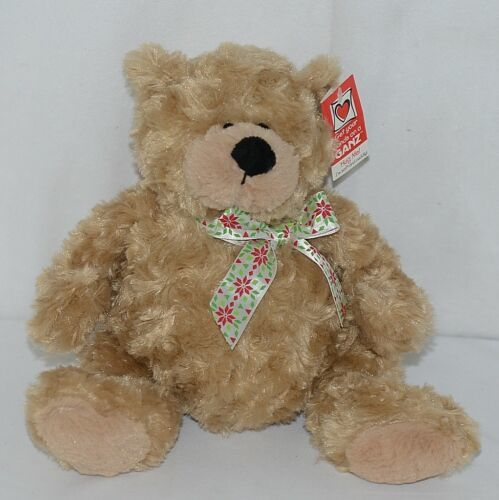 GANZ Brand HX11089 Light Brown Color Soft and Cuddly Hayden Plush Bear With Bow