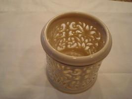 Lennox Pierced Cream China Gold Trim Candle/Tea Light Holder - $9.89