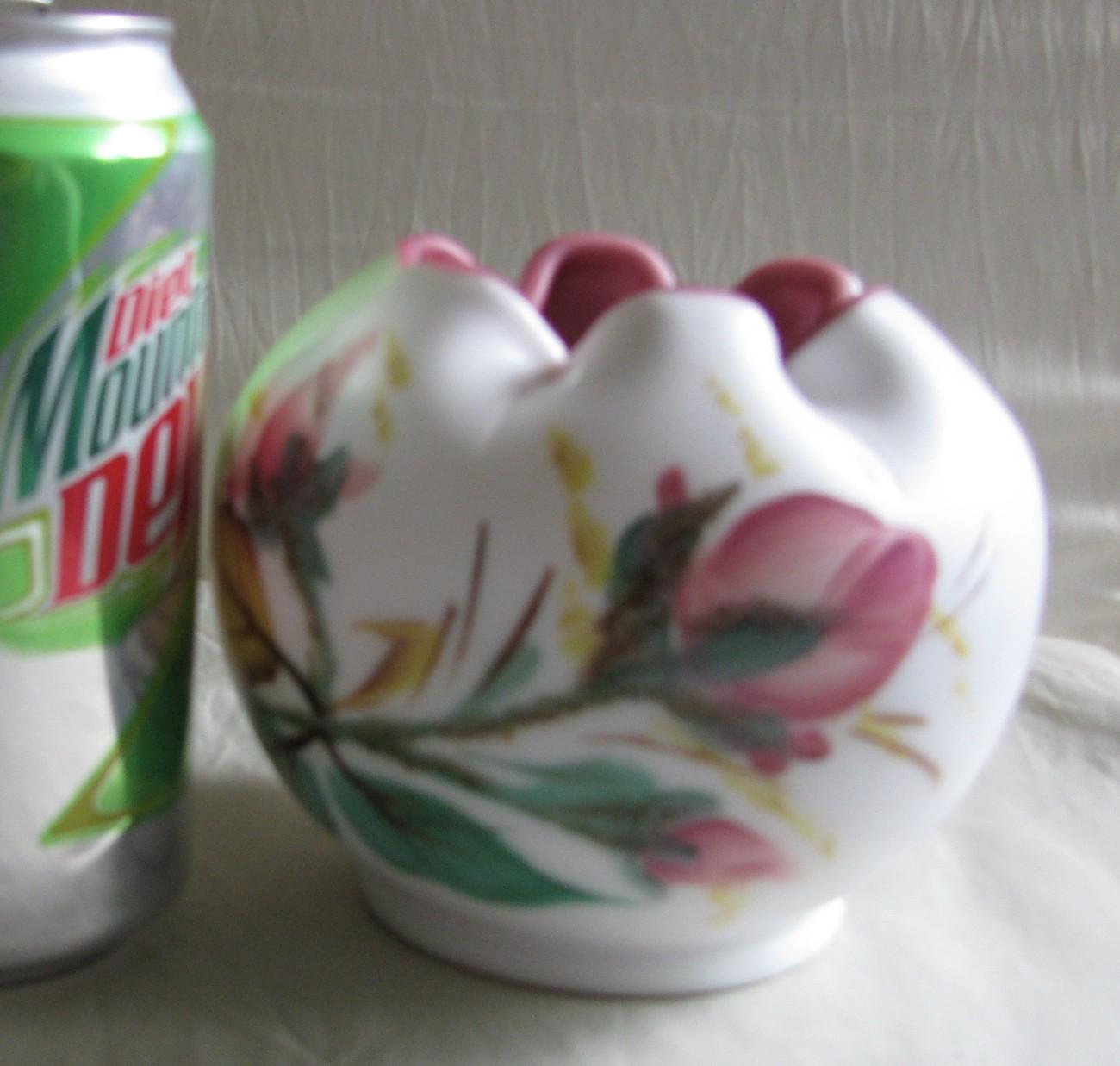 Wright/Fenton Peach Blow Rose Bowl w/hp 'Moss Roses' dec.