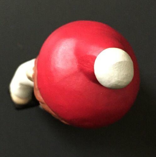 Vtg Winter Boy Figurine Holding Lamp Red Green Pom Pom Hat Holiday Christmas