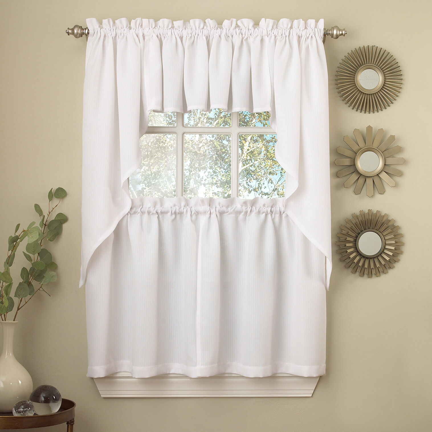 Primary image for White Solid Opaque Ribcord Kitchen Curtains - Choice of Tiers Valance or Swag