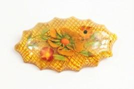 ESTATE VINTAGE Jewelry REVERSE CARVED APPLE JUICE BAKELITE FLORAL BROOCH - $135.00