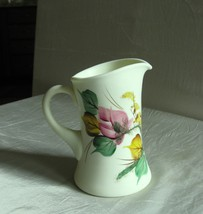 "Wright 5 1/2"" Satin Custard glass Pitcher w/hp 'Moss Roses'  - $32.00"