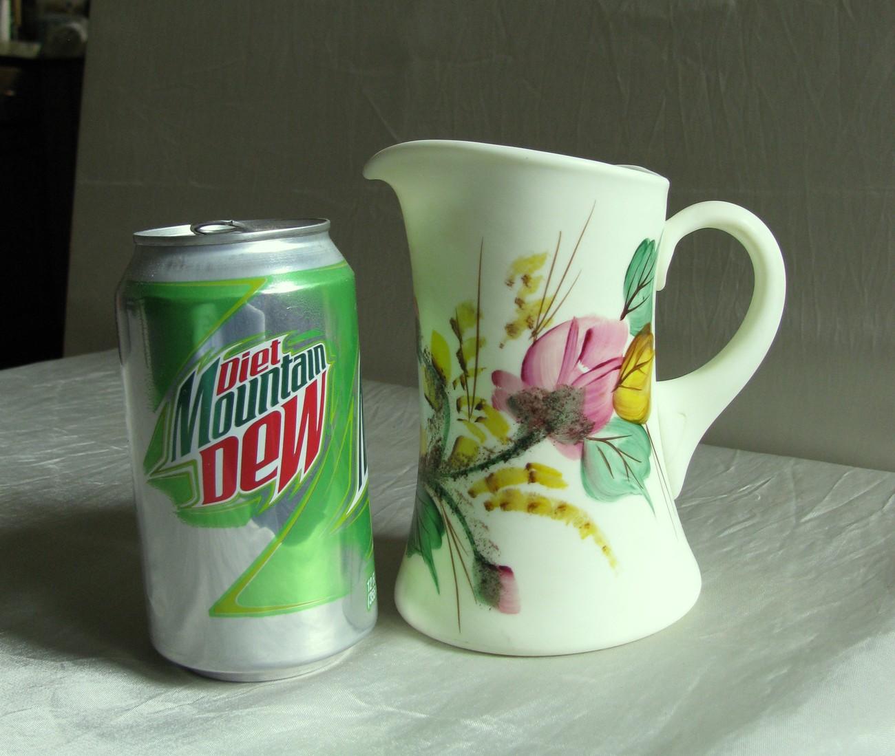 "Wright 5 1/2"" Satin Custard glass Pitcher w/hp 'Moss Roses'"