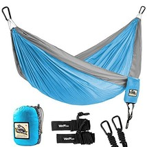 Wolfyok Portable Camping Single & Double Hammock Lightweight (Double,Blue) - $33.32