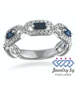 Blue Sapphire Baguette Gemstone 14K White Gold 0.69CT Natural Diamond Fi... - $2,457.18