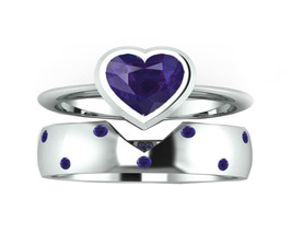 14K White Gold Finish Solid Blue Sapphire  Heart Wedding Bridal Ring Set  - $70.00