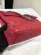AUTHENTIC CHANEL MAXI RED PINK QUILTED SOFT CAVIAR CLASSIC FLAP BAG SHW image 5