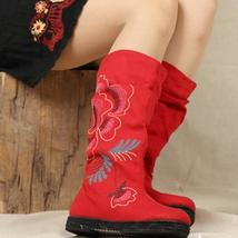 New Fashion Women's Chinese Traditional Embroidery Suede Long Boots Low Heels Ma