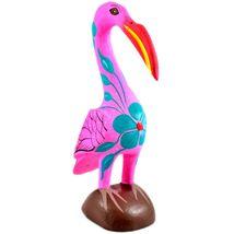 Handmade Oaxacan Copal Wood Carving Painted Folk Art Pink Flamingo Bird Figurine image 4