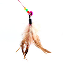Funny Cat / Kitten Pet Teaser Feather Wire Chaser Pet Toy Wand Beads Play image 2