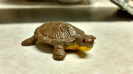 "3 Vintage Brown Turtle Hard Plastic Miniatures Hand Painted 1 5/8"" long - $5.89"