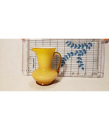 Vintage Small Yellow Art Glass Pitcher With Unique Design Possible Kanaw... - $17.15