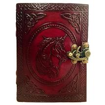 Leather Journal Book Unicorn Embossed Notebook Handmade Book of Shadows ... - $28.98