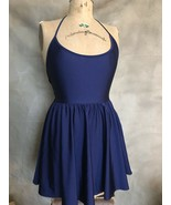 Women's Halter Skater Style Mini Dress FIT & FLARE Blue American Apparel... - $28.90
