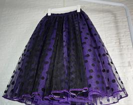 Elegant Purple Polka Dot  Midi Skirt High Waisted Tulle Midi Skirt Plus Size image 4