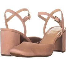 Franco Sarto Lavita Square Toe Ankle Strap Heels 876, Peach Suede, 6.5 U... - $32.25