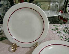 """Homer Laughlin Restaurant Ware Red Stripe On White 6 1/2"""" Bread Plates Set Of 4 - $12.82"""