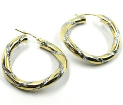 18K YELLOW WHITE GOLD CIRCLE HOOPS PENDANT EARRINGS, 3.1cmx4mm TWISTED, GLITTER image 2