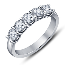 0.45 CT HUGE 5 STONE ROUND CUT DIAMOND WEDDING BAND SOLID 14K WHITE GOLD GP RING - $70.99