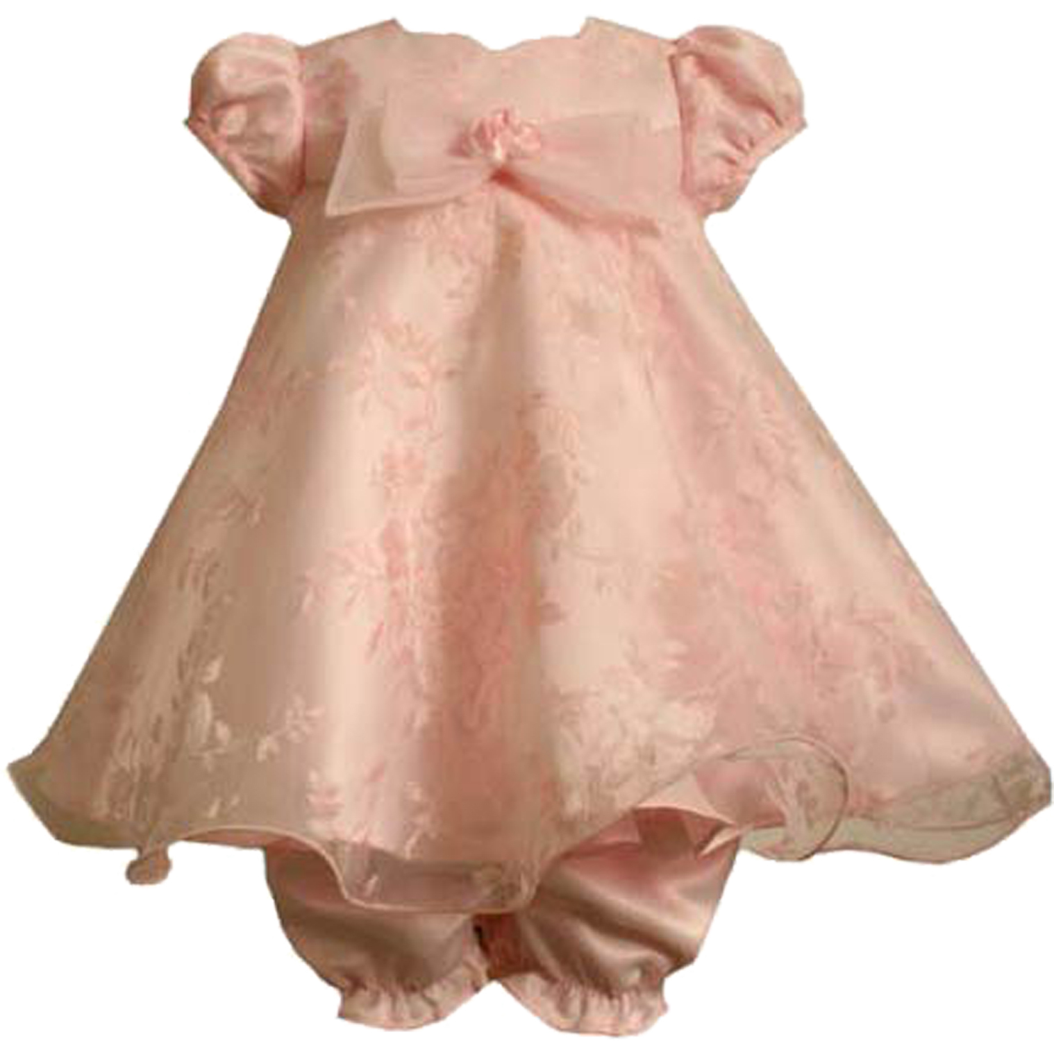 Bonnie Jean Baby Girl 3M-24M Pink Floral Burnout Organza Overlay Dress