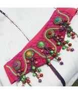 Elastic Hook Loop Pink Decorative Braid Beaded Belt - $40.00