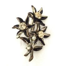 Vintage Black Enamel Flowers Clear Rhinestone Silver Toned Brooch Pin*S104 - $17.82