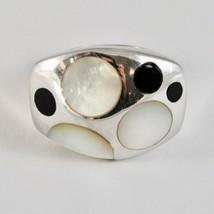 Ring aus Silber 925 Rhodium A Fscia mit Perlmutt Weiß und Politur Schwarz image 2