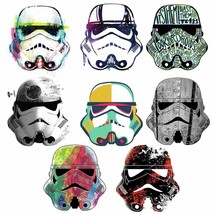 8-Piece Star Wars Artistic Storm Trooper Heads Peel and Stick Wall Decals